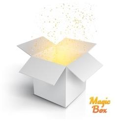 Realistic magic open box magic box with confetti vector