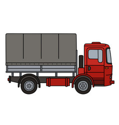Red covered truck vector