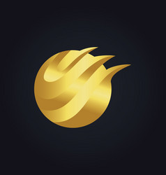 round abstract wave technology gold logo vector image vector image