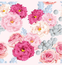 seamless pattern with eustoma and roses vector image vector image