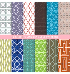 Set of graphic line seamless patterns vector image