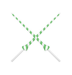 two crossed lances in green and white design vector image