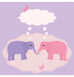 Two elephants card vector image