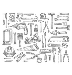 work tools sketch icons for house repair vector image vector image
