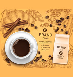 3d realistic coffee cup package concept vector