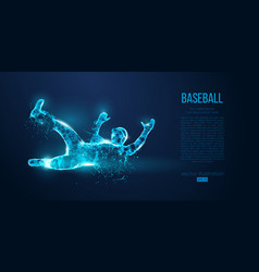 Abstract baseball player low poly neon wire vector