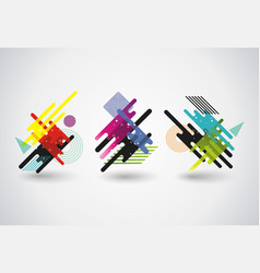 Abstract geometric puzzles shapes design vector