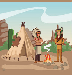 american indian warriors at village vector image