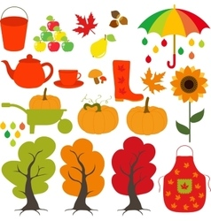 Autumn set leaves trees mushrooms nuts vector