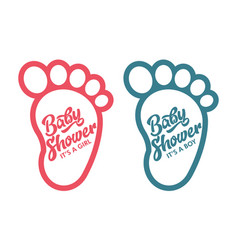 Baby foot shower invite greeting cards vector