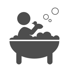 Baby takes a bath with rubber duck pictograph flat vector