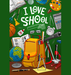 Back to school student bag and green chalkboard vector