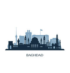 baghdad skyline monochrome silhouette vector image