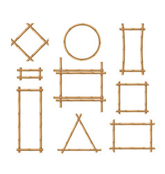 Bamboo frame wooden brown stick square vector