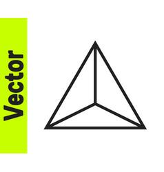 Black line geometric figure tetrahedron icon vector