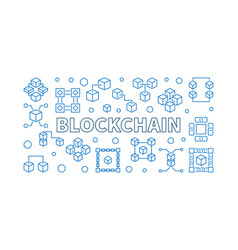 Blockchain cryptocurrency concept outline vector