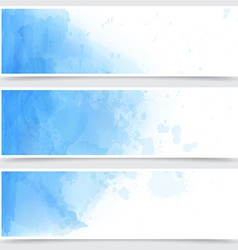 Blue watercolor abstract banners vector image
