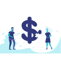 business couple making puzzle dollar icon vector image