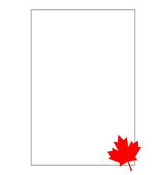 Canadian flag red maple leaf frame card letter a4 vector