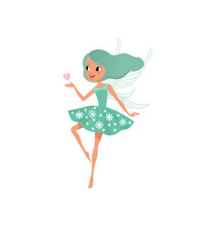 Cartoon fairy character beautiful girl with long vector