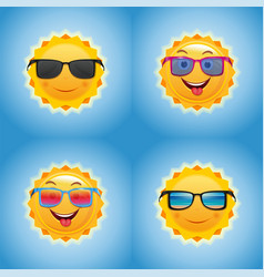 Cheerful smiling sun icons set vector