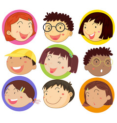 Children with happy face on round badges vector