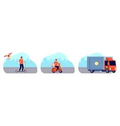 city delivery service courier man on bike vector image
