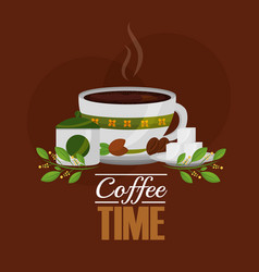 Coffee cup and sugar cubes seeds grains and leaves vector