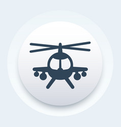 Combat helicopter icon round pictogram vector