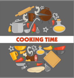 Cooking point poster with kitchenware and grill vector