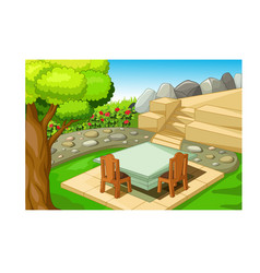 Cool park with chair and table cartoon vector