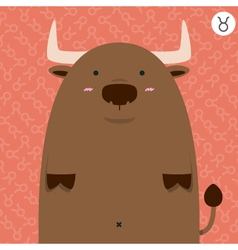 cute big fat taurus zodiac cartoon vector image