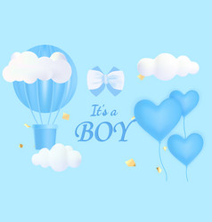 Cute postcard template with its a boy lettering vector