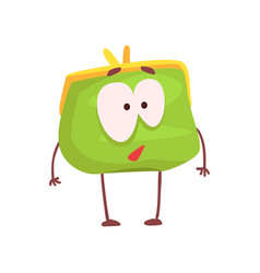Cute purse character funny green humanized pouch vector