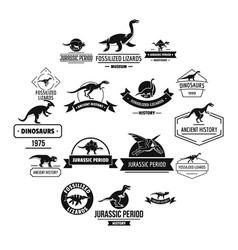 Dinosaur logo icons set simple style vector