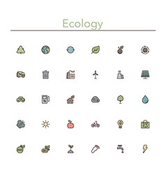 Ecology Colored Line Icons vector image vector image