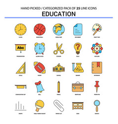 Education flat line icon set - business concept vector