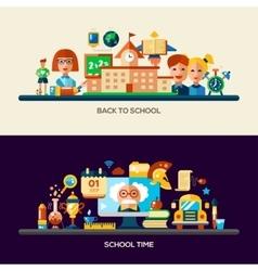 Education website header banner with webdesign vector