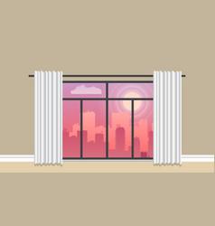 evening city panorama flat vector image