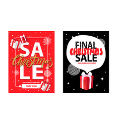 final christmas sale holiday discount gift box vector image