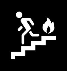 Fire escape ladder man fire solid icon vector