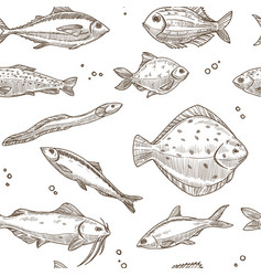 fish sketch seamless pattern background vector image