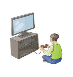 flat boy playing game console on tv vector image