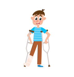 Flat boy with broken leg on crutches vector