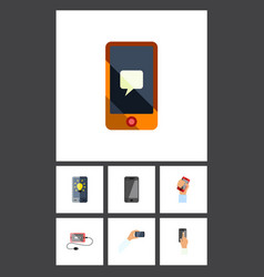 Flat icon phone set of telephone cellphone vector