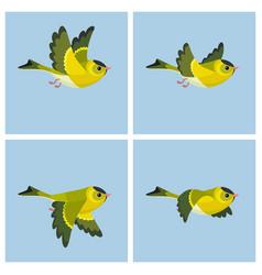 Flying european siskin male animation sprite vector