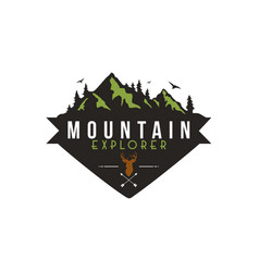 forest mountain adventure deer hunter badge vector image
