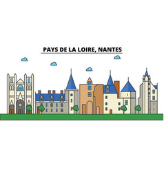 france nantes pays de la loire city skyline vector image