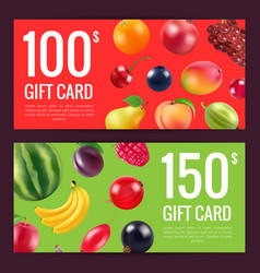 fruits and berries discount or gift vector image