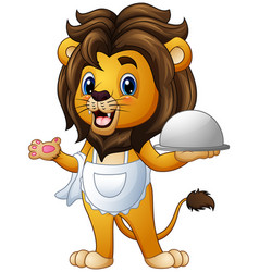 Funny lion chef cartoon holding a platter vector